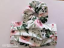 Rúška - Set rúško s gumičkou _staroružove kvety - 11926199_