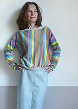 Svetre/Pulóvre - pestré pásikové tričko , dlhý rukáv - 11926258_