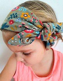 Detské doplnky - Detská čelenka na viazanie s dekoračným uzlíkom - KVIETKOVÁ - 11928562_