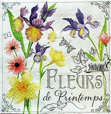 Papier - S1470 - Servítky, kosatec, narcis, kvety, fleurs - 11928405_