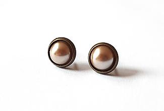 Náušnice - Perleťové puzetky v staromosadzi 14 - 11930243_