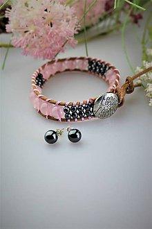 Sady šperkov - ruženín a hematit náramok, náušnice - set AKCIA! - 11932042_