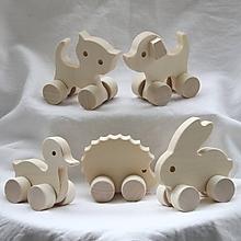 Hračky - Drevené hračky. Zvieratká na kolieskach - 10 druhov - 11929135_