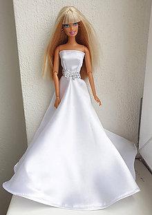 Hračky - Svadobné šaty s mašličkou pre Barbie - 11930352_