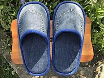 Obuv - Riflové papuče s vreckom a modrým lemom - 11929750_