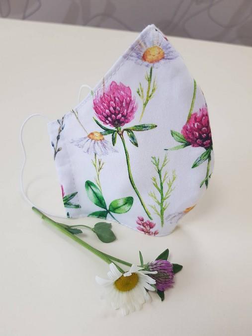 Letné bavlnené rúško - maľovaná záhrada (Dvojvrstvové 100% bavlnený satén + 100% bavlnený popelín)