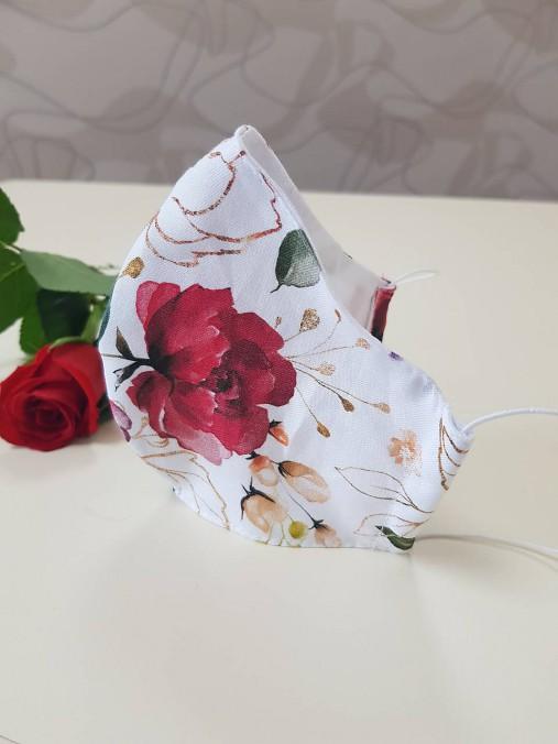 Letné bavlnené rúško - ruže (Dvojvrstvové 100% bavlnený satén + popelín)