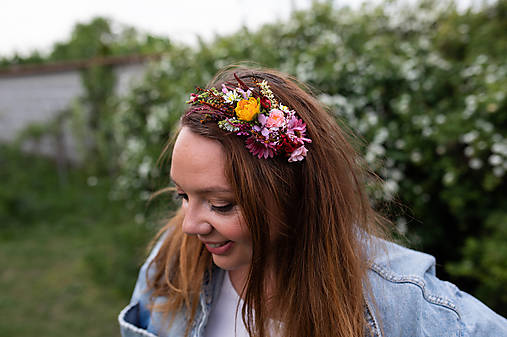 """Kvetinová čelenka """"natrhám si šťastie"""" - na ukážku"""