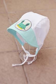 Detské čiapky - Baby čepiec zajačik mint - 11933091_