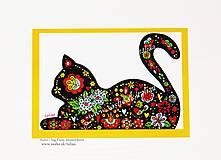 Papiernictvo - KOCÚR ♥ klasická folk pohľadnica - 11927971_