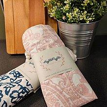 Úžitkový textil - Zero waste sada na nákup (Ružové ornamenty) - 11930589_
