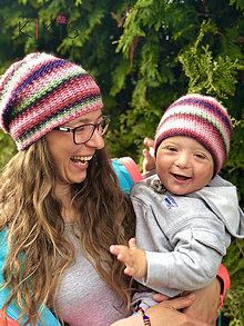 Čiapky - Obojstranná čiapka Perla - set Mama a jej Dieťatko - 11929516_
