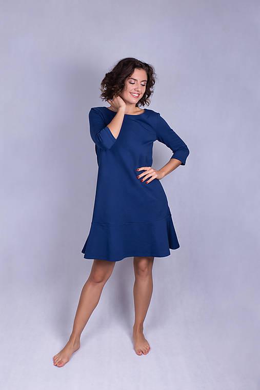 Šaty - Šaty volán navy blue - 11933422_