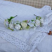 Ozdoby do vlasov - Čelenka -venček,ružičková, na prvé prijímanie, svadbu - 11937067_