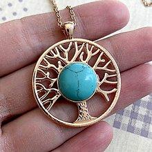 Náhrdelníky - Tree of Life Tyrkenite RoseGold Necklace / Náhrdelník Strom života s tyrkenitom - 11934464_