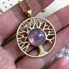 Náhrdelníky - Tree of Life Amethyst Golden Necklace / Náhrdelník Strom života s ametystom - 11938395_