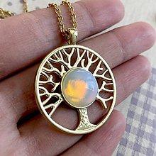 Náhrdelníky - Tree of Life Opalite Golden Necklace / Náhrdelník Strom života s opalitom - 11938435_