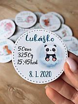 Detské doplnky - Magnetky na pamiatku s údajmi o narodení pandička - 11934972_