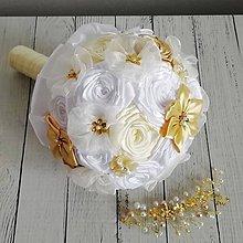 Kytice pre nevestu - Svadobná kytica bielo zlatá - 11936584_