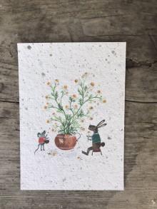 Papiernictvo - Kvitnúce pohľadnice  (Myška) - 11934357_