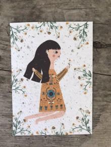 Papiernictvo - Kvitnúce pohľadnice  (Dievčina) - 11934375_