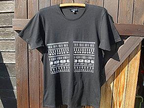 Tričká - čičmany in black-T shirt-SK - 11939210_