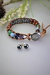 Sady šperkov - čakra náramok, náušnice -letný set z minerálov - 11934833_