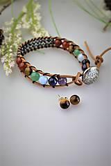 Sady šperkov - čakrový náramok a náušnice - z minerálov - 11934981_