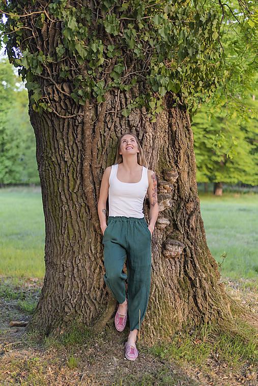 Nohavice - miljö ľanové nohavice - blå v zelenom - 11934237_