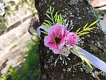 Náramky - Ružový kvetovaný náramok pre družičky - 11936594_