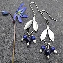 Náušnice - Kvietky na uši - s lapisom lazuli - 11936991_