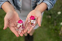 """Náušnice - Kvetinové náušnice """"malinové leto"""" - na ukážku - 11937702_"""