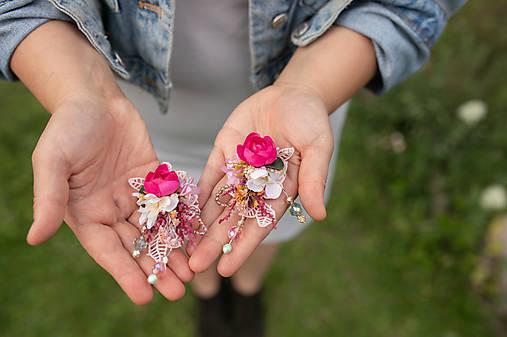 """Kvetinové náušnice """"malinové leto"""" - na ukážku"""