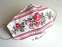 Letné rúško 2-vrstvové s drôtikom - folk ruže