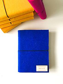 Papiernictvo - A6 zápisník z filcu - čistý, royal blue - 11936959_