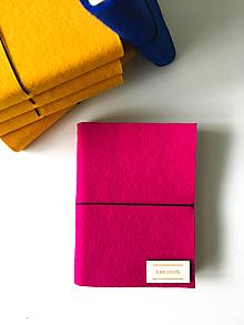 Papiernictvo - A6 zápisník z filcu - čistý, magenta - 11936999_