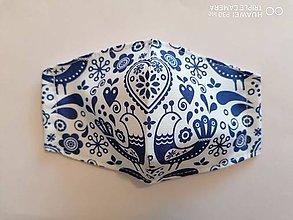 Rúška - Tvarované rúška na tvár - modry folklór s vtačikmi - 11935286_