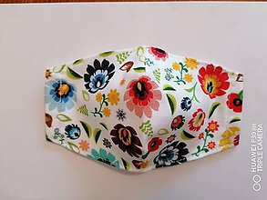 Rúška - Tvarované rúška na tvár - farebny folklór kvety - 11935294_