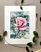 Obrazy - Ruža, originál akvarel - 11934865_