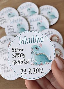 Detské doplnky - Magnetky na pamiatku s dátumom narodenia a menom dieťatka dinko - 11940847_