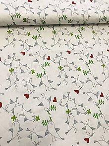Textil - Bavlnená látka vtáčiky - biela - 11944339_