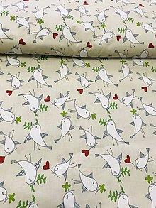 Textil - Bavlnená látka vtáčiky - režná - 11944452_