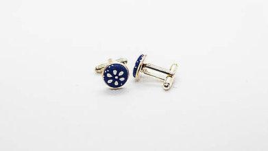 Šperky - Manžetové gombíky modrotlač - 11944742_
