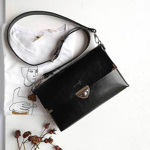 Kabelky - Kožená kabelka MaxiMe (čierna) - 11939689_