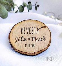 Darčeky pre svadobčanov - Svadobné magnetky . drevený pník - 11942855_