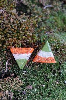 Náušnice - Trojuholníky trojfarebné - 11943082_