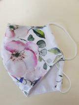 Rúška - Letné bavlnené rúško - biela záhrada - 11944989_