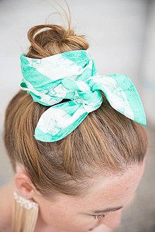 Šatky - Štvorcová šatka Green Stripes - 11943269_