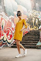 Šaty - Žlté úpletové šaty - 11940267_