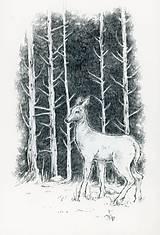 Kresby - Srnka medzi kmeňmi stromov Art Print - 11944683_